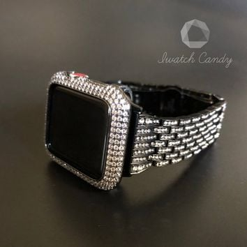 38mm/40mm 42mm/44mm Apple Watch Band Series 1,2,3,4 Black Womens Mens Rhinestone Crystal/Bezel Case Cover Lab Diamonds Iced Out Iwatch Bling