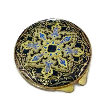 50's Italian Leather Compact, Vintage Ornate Art Nouveau Style Black & Gold Compact, Leather Vanity Case, Baroque Floral Compact Italy