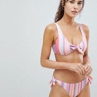 Missguided Tie Front Stripe Bikini at asos.com