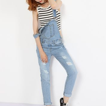 Streetstyle  Casual Patch Pockets Ripped Light Wash Slim-leg Overalls