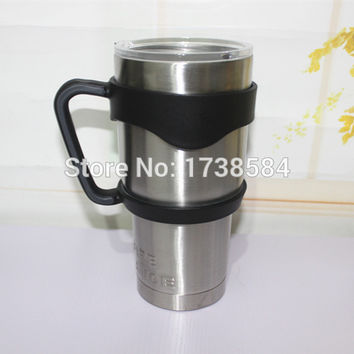 double wall stainless steel 18/8 yeti rambler tumbler with lid and handle,portable car cup outdoor travel mug,hot cold tumbler