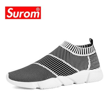 SUROM Brand Summer Men Socks Sneakers Beathable Mesh Male Casual Shoes Slip on Sock Shoes Loafers Boys Super Light Sock Trainers