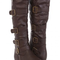Brown Faux Leather Buckle Strapped Casual Boots @ Amiclubwear Boots Catalog:women's winter boots,leather thigh high boots,black platform knee high boots,over the knee boots,Go Go boots,cowgirl boots,gladiator boots,womens dress boots,skirt boots,pink boot