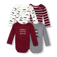 Baby Boys Long Sleeve 'Mommy's Little Man' Mustache Graphic Bodysuit 4-Pack | The Children's Place