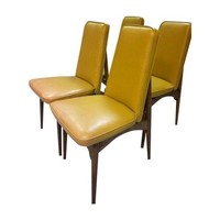 4 Mid Century Vintage Slipper Style Dining Chairs