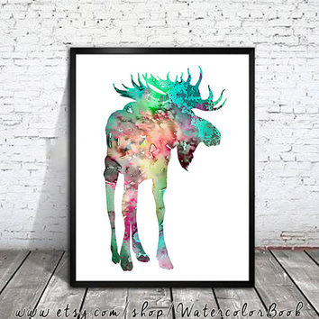 Colorful Moose 2 , Watercolor Print, watercolor painting, watercolor art, Illustration,home decor wall art, watercolor animal, Moose poster
