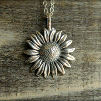Sunflower Necklace in Sterling Silver