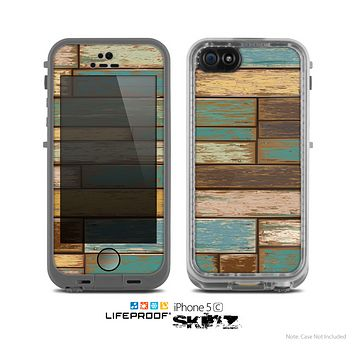 The Colored Vintage Solid Wood Planks Skin for the Apple iPhone 5c LifeProof Case