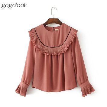 Women Blouse Crepe Chiffon Ruffle Flare Long Sleeve