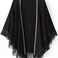 Black Flare Sleeve Tribal Embroidered Tassel Trimmed Poncho Cardigan