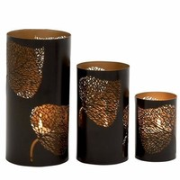 Benzara Adorably Styled Set of Three Metal Candle Holder