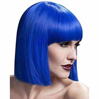 Elegant Short Silky Straight Bob Style Synthetic Full Bang Assorted Color Cosplay Wig For Women - Sapphire Blue