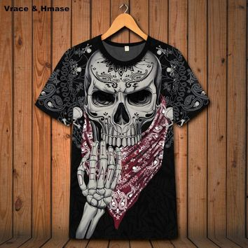 Heavy metal rock skulls printing short sleeve t shirt quality soft comfortable