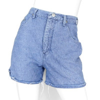 Sz 6 High Waisted Raw Edge Denim Shorts - Vintage Women's Wrangler Microcheck Cutoff Short Shorts