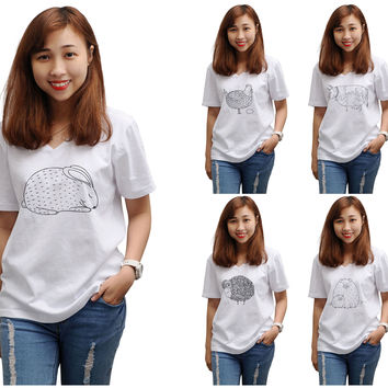 Women Hand drawn abstract farm animals Printed V-neck T-shirt WTS_16