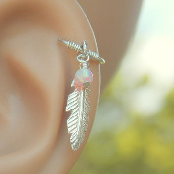 Tribal feather cartilage earring piercing, feather cartilage piercing, helix piercing jewelry, silver feather jewelry