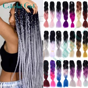 "24""Expression Braiding Hair 1pcs Crochet Braids Mega Hair Kanekalon Synthetic Hair Braids 100g"