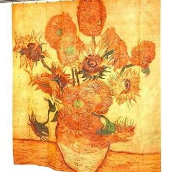 Garden of Eve Sunflowers Design Fabric Shower Curtain Size: 70 inch  x 72 inch