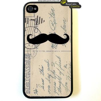 Iphone 4 Case  Mustache On Vintage Postcard Art by KeepCalmCaseOn