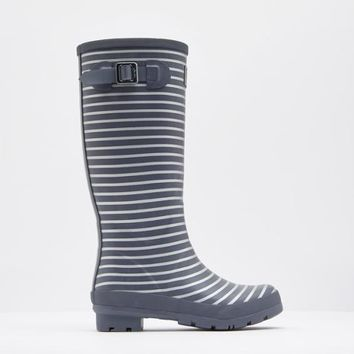 Printed Grey Silver Stripe Rain Boots | Joules US