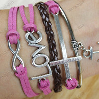 bracelets for girls,love  bracelets,cross bracelets,anchor charm bracelets-pink rope and brown braided rope,gifts for her s0052