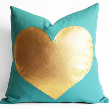 Sukan / Turquoise and Gold Pillows - white and gold pillow - Gold Foil Heart Pillow - heart shaped pillow online - gold heart pillow