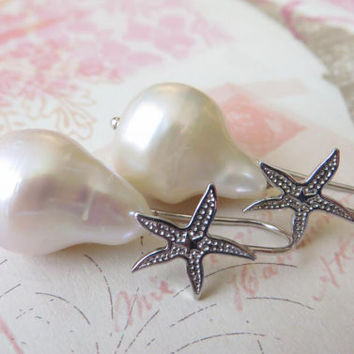 Baroque pearl earrings with starfish hooks italian jewelry sterling silver 925 Made in Italy Sofia's Bijoux
