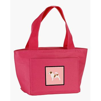 Jack Russell Terrier Checkerboard Pink Lunch Bag BB3607PK-8808