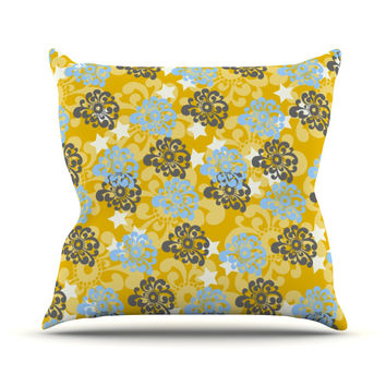 "Nandita Singh ""Blue and Yellow Flowers "" Gold Floral Outdoor Throw Pillow"