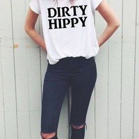 dIRTY hIPPy tshirt - funny hipster tee - baggy fit - unisex tee - hippy - peace - retro - gift