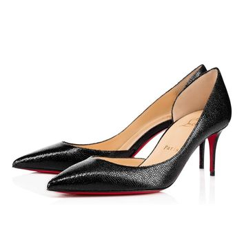 Best Online Sale Christian Louboutin Cl Iriza Black Leather 70mm Stiletto Heel 13w