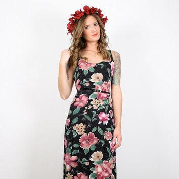 Vintage Grunge Dress Grunge Maxi Dress Black Floral Dress Club Kid Dress Ditsy Floral Print Bandage Dress BodyCon 90s Dress M Medium L Large