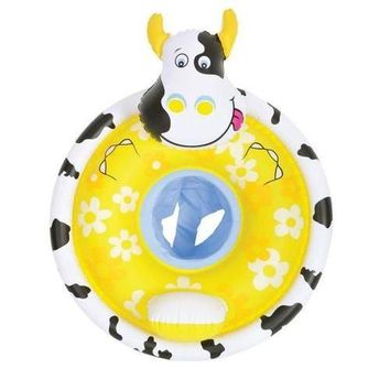 """31.25"""" Black  White and Yellow Cow Children's Inflatable Swimming Pool Baby Seat Float"""