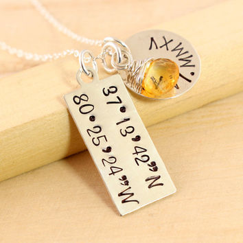 Latitude Longitude Necklace - GPS Coordinates Jewelry - Roman Numeral Date Disc - College or High School Graduation Gift - Anniversary Gift