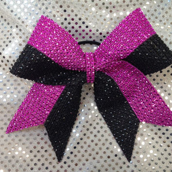 Cheer Bow CUSTOM MADE  Stripe Rhinestone Bling Cheerleading Dance Ribbon