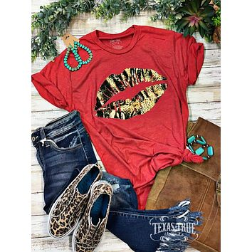 Red and Leopard Foil Lips Graphic Tee (S-2XL)