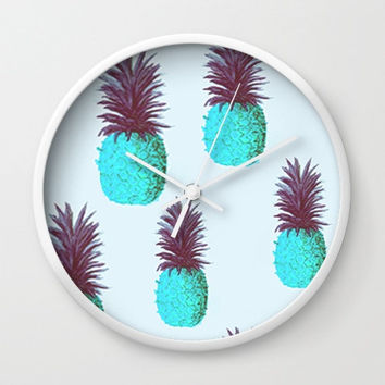 Decorative Blue Pineapple Printed Wall Clock // White Frame // Home Decor