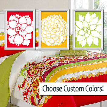 Wall Art Canvas Artwork Red Gold Yellow Lime Green Bright Bold Flower Dahlia Bloom Petals  Set of 3 Trio Prints Decor Bathroom Bedroom Three