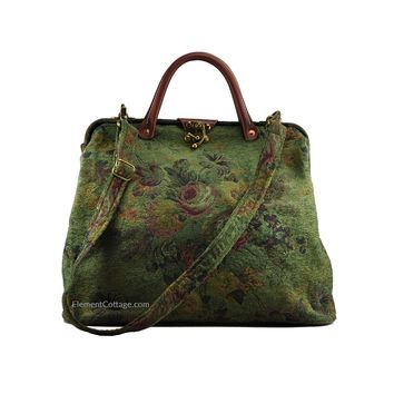 Modern Satchel - Olive Green with Vintage Flowers