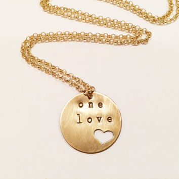 "Bob Marley ""One Love"" Necklace, Hand Stamped Heart"