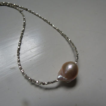 RARE Kasumi Baroque Freshwater Nucleated Light Peach Cream Pearl, Sterling Silver Beaded Necklace ... June Birthday, For the Bride
