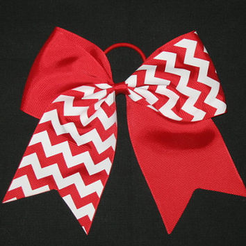 "New ""Red Chevron"" Tick Tock Cheer Bow Pony Tail 3"" Ribbon Girls Cheerleading Dance Practice Football Games Elastic Two-Tone"