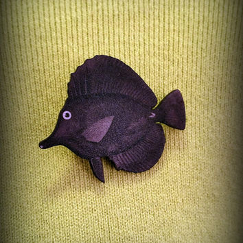 Black Tang Pin - Tang Brooch - Aquarium Jewelry - Tropical Fish Pin - Black Tang - Shrink Plastic Jewelry - Beach Jewelry - Nature Inspired
