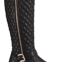 Mango Tall Quilted Riding Boots : Black