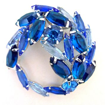 JULIANA Blue Swirl Wreath Rhinestone Brooch, Silver Plated, Vintage