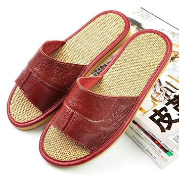 Cool Animal Leather Slippers Summer Leather Flax Slippers For Man Beach Flip Flops Sandals With Flats Casual