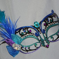 Black Metal Mask with Decorations in Blue, Teal and Purple