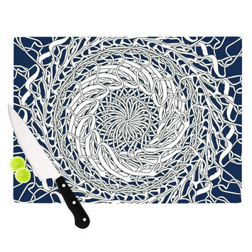 "Patternmuse ""Mandala Spin Navy"" Blue White Cutting Board"