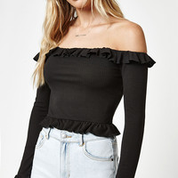 LA Hearts Ruffled Long Sleeve Off-The-Shoulder Top at PacSun.com