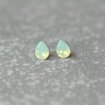 Mint Green Teardrop Swarovski Crystal Stud Earrings